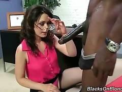 Naughty brunette Sarah makes Wesley Pipes` brown shaft grow big.