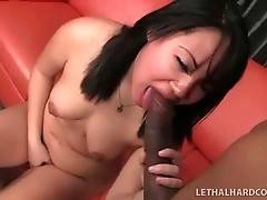 Sexy Asian Chick Sucks Massive Black Cock 1