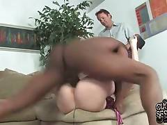 Nasty babe loves to have her welcome pussy poked with fat black dong.