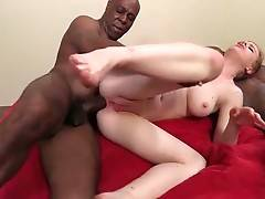 Lovely white slutie is fond of fucking with two tough black men.